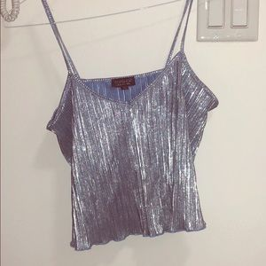 Metallic pleated crop top - TopShop